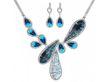 Štrasový náhrdelník a náušnice Thyra by Veronika v modré barvě od firmy Preciosa