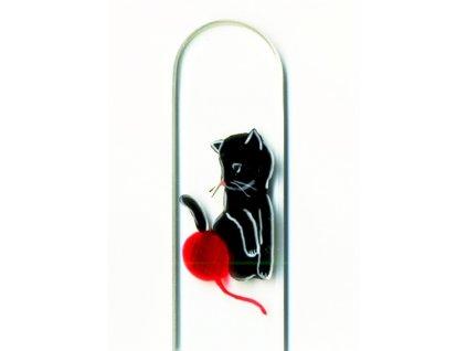 Skleněný pilník na nehty ručně malovaný profesionální manikúra - Černé koťátko s klubíčkem