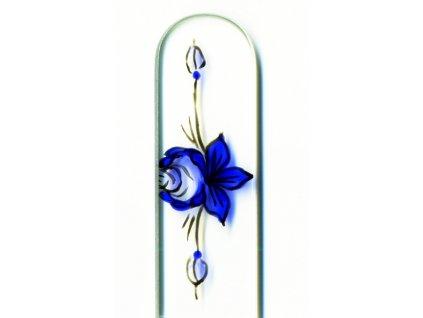 Skleněný pilník na nehty ručně malovaný profesionální manikúra - Ornament květiny