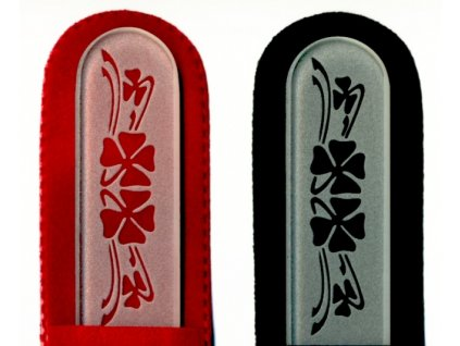 Skleněný pilník na nehty pískovaný profesionální manikúra - Čtyřlístek - ledový design