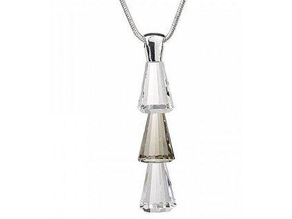 Preciosa broušený křišťál  Přívěsek Trio  Crystal & Black Diamond  Čirý křišťál a Černý démant neboli kouřová šeď