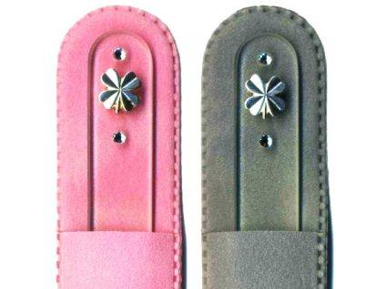 Skleněný pilník na nehty 135 mm se stříbrnou miniaturou Ag 925 a Swarovski - Čtyřlístek