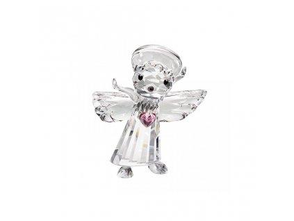 2364 2 sklenena figurka andelicek se srdickem z ceskeho kristalu preciosa
