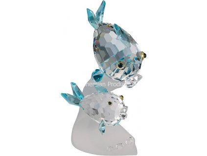 Skleněné figurky z broušeného křišťálu Sklo Bohemia - Rybky na vlně