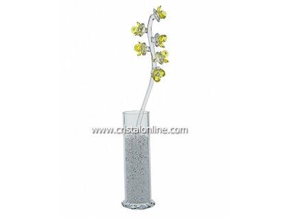 Broušená kytka s vázou a perlami  Pyrola (žlutá)