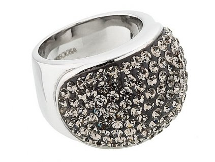 Prsten z broušeného skla Brillant v černé barvě od firmy Preciosa