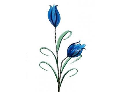 Skleněná kytka - Modrý tulipán