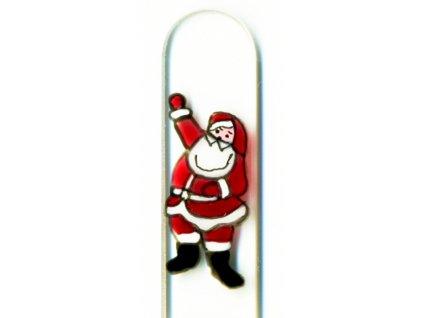 Skleněný pilník 135 mm s vánočním motivem - Santa Claus
