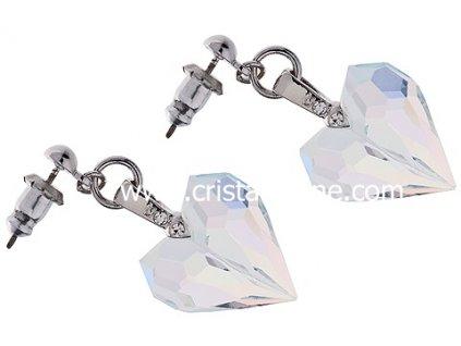 Náušnice z broušeného skla Amour v barvě duhy Crystal AB od firmy Preciosa