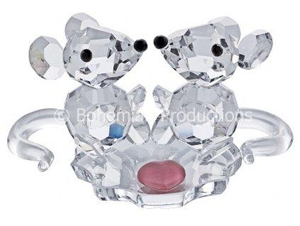 Skleněné figurky z broušeného křišťálu Sklo Bohemia - Zamilované myšky