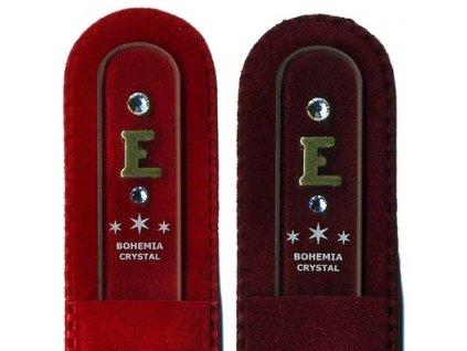 Skleněný pilník na nehty 135 mm s iniciálou jména z pravého zlata - E