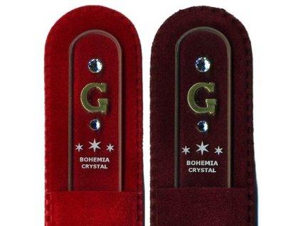 Skleněný pilník na nehty 135 mm s iniciálou jména z pravého zlata - G