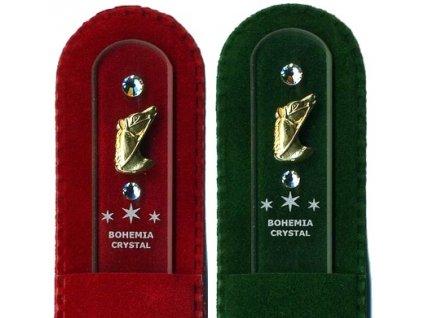 Skleněný pilník na nehty 135 mm se zlatou miniaturou a Swarovski - Hlava koníka
