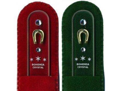 Skleněný pilník na nehty 135 mm se zlatou miniaturou a Swarovski - Podkova pro štěstí