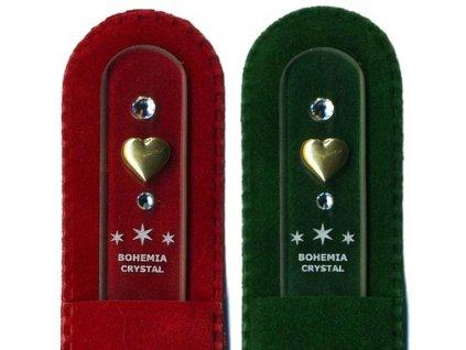 Skleněný pilník na nehty 135 mm se zlatou miniaturou a Swarovski - Srdce