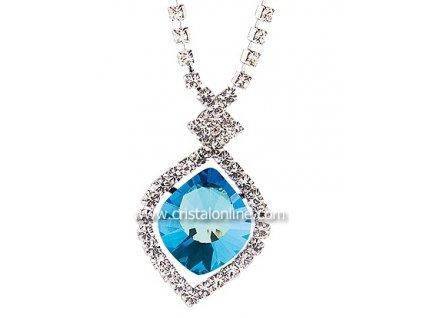 Štrasový náhrdelník s broušeným kamenem Cassiopeia v modré barvě od firmy Preciosa