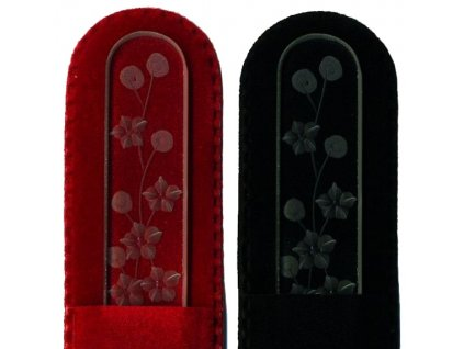 Skleněný pilník na nehty ručně rytý 135 mm - Květina  02