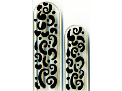 Skleněné pilníky na nehty ručně malované 90 a 135 mm – Černý orient