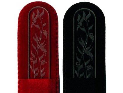 Skleněný pilník na nehty ručně rytý 135 mm - Květina  04