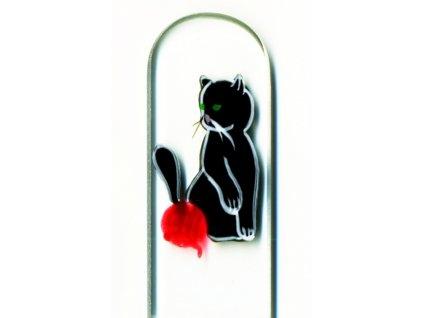 Skleněný pilník na nehty ručně malovaný pedikúra - Černé koťátko s klubíčkem