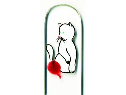 Skleněný pilník na nehty ručně malovaný pedikúra - Bílé koťátko s klubíčkem