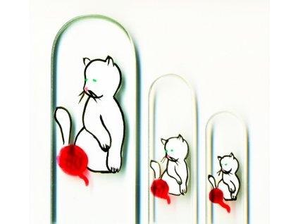 Skleněné pilníky na nehty ručně malované 90, 135 mm a pedikúra – Bílé koťátko s klubíčkem