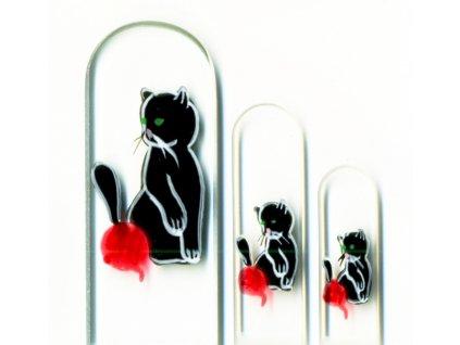 Skleněné pilníky na nehty ručně malované 90, 135 mm a pedikúra – Černé koťátko s klubíčkem
