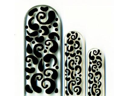 Skleněné pilníky na nehty ručně malované 90, 135 mm a pedikúra – Černý orient