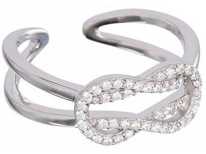 Stříbrný prsten Dainty Loop v křišťálové barvě od firmy Preciosa