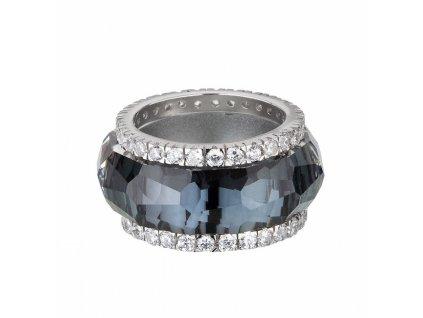 Stříbrný prsten z broušeného skla De Luxe v šedé barvě od firmy Preciosa