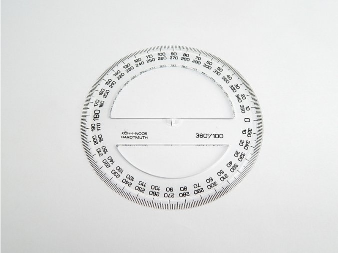 Úhloměr 360 stupňů 10cm čirý