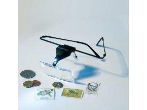 Brýle s lupou a LED osvětlením, 1,5x, 2,5x a 3,5x zvětšení