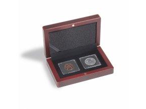 Etue VOLTERRA na mince v bublinkách QUADRUM MINI, mahagonové