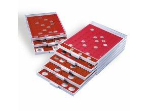 Boxy na mince, čtvercové, červené