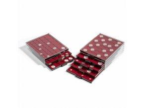 Boxy na mince, čtvercové, tmavě červené