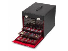 Koženkový kufr, na 10 boxů na mince