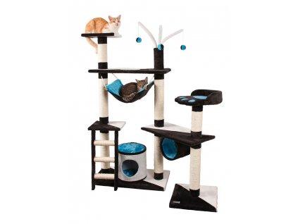 Kočičí škrabadlo XXL - bílo-modro-antracitové 150cm vysoké