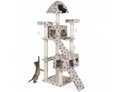 Kočičí škrabadlo XXL - béžová tlapka 181 cm vysoké