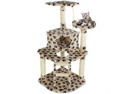 Kočičí škrabadlo XL - béžové s tlapkou 125cm vysoké