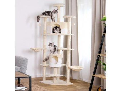 Kočičí škrabadlo XXL - béžovo-bílé 200cm vysoké