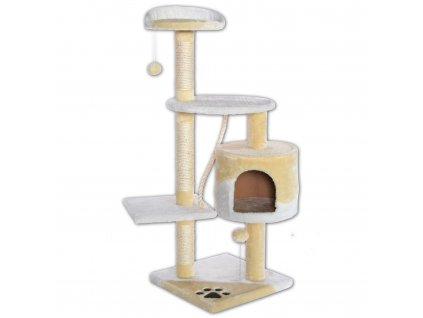 Kočičí škrabadlo XL - béžovo-bílé 112cm vysoké