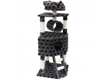 Kočičí škrabadlo XL -  antracitové s potiskem tlapky 145cm