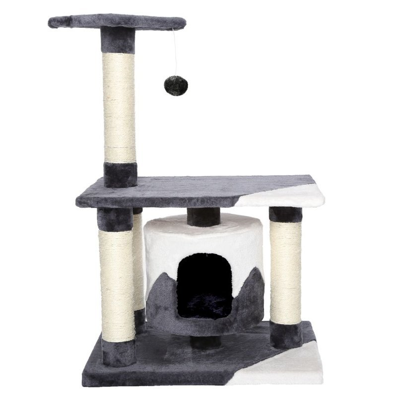 Kočičí škrabadlo - antracitovo - bílé 90cm vysoké