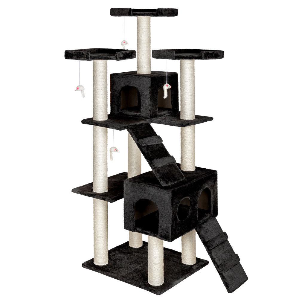 Nové kočičí škrabadlo XXL - černé 186cm vysoké