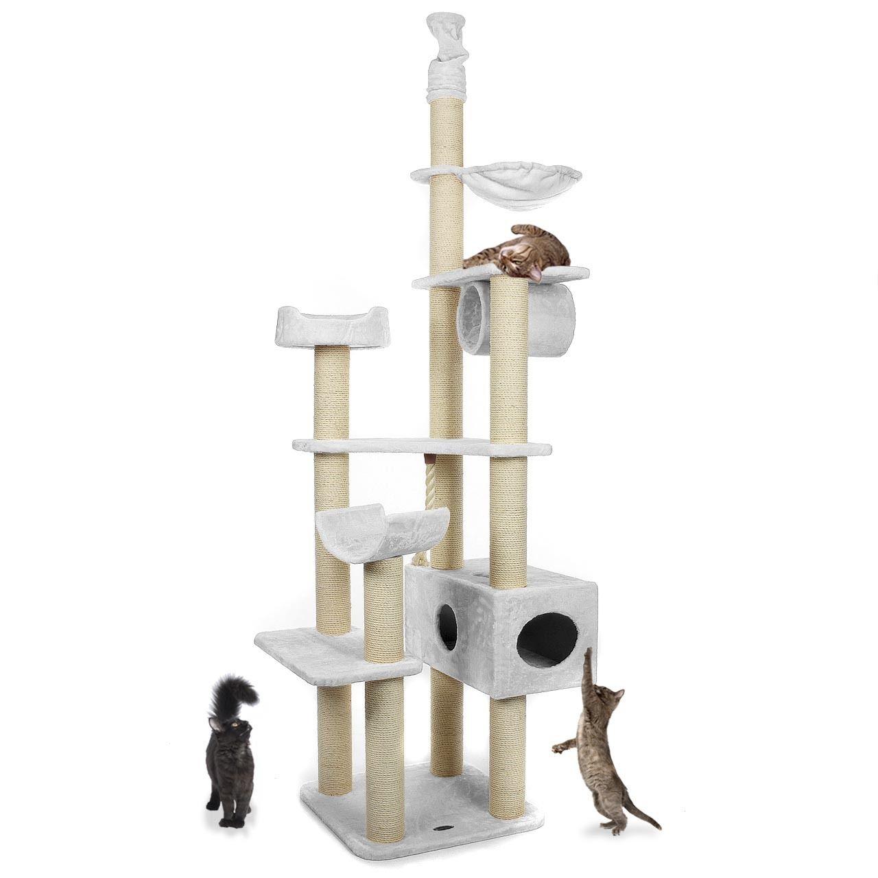 Kočičí škrábadlo XXL - bílé 230cm - 260cm vysoké