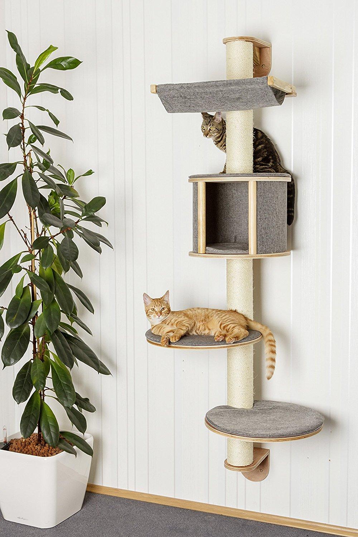 Kočičí škrabadlo na zeď 168cm vysoké - antracitové