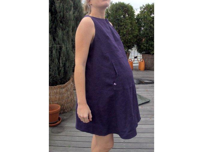 Těhotenské šaty fialové lněné, vel. M
