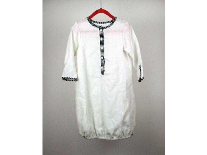 Novorozenecká noční košilka bílá lněná s kostkovaným lemem 2-6 m