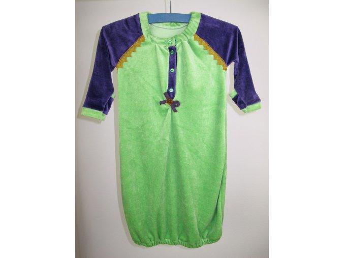 Novorozenecká noční košilka bambusová fialovo-zelená 0-6 m
