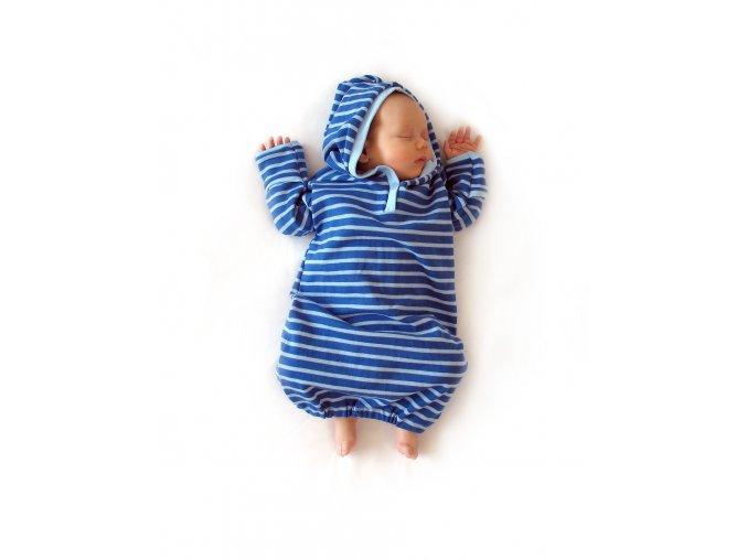Novorozenecká košilka proužkovaná s kapucí 3 - 8  m
